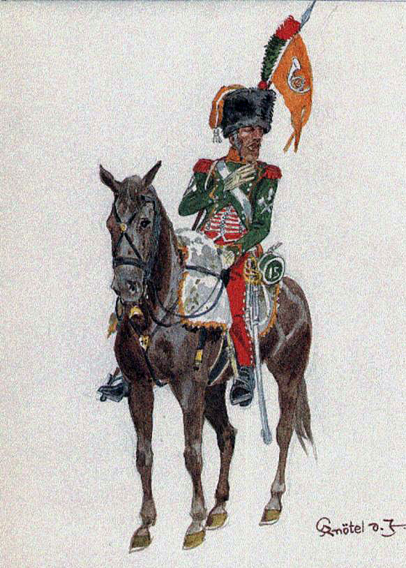 French 15th Chasseurs à Cheval: Battle of Cacabelos on 3rd January 1809 in the Peninsular War: picture by Knötel