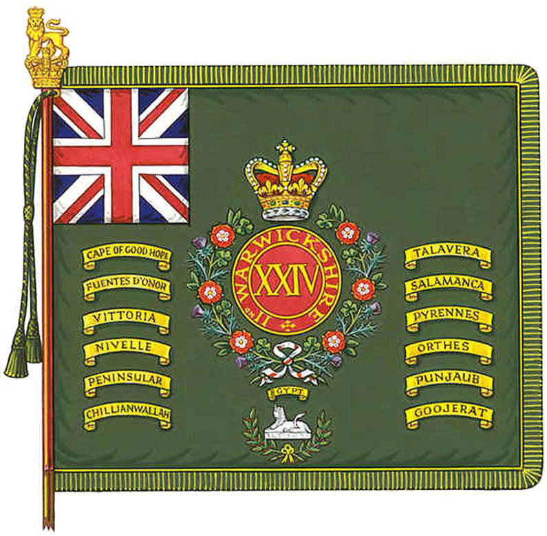 Regimental Colour of the 24th Foot with battle honour Battle of Talavera on 28th July 1809 in the Peninsular War