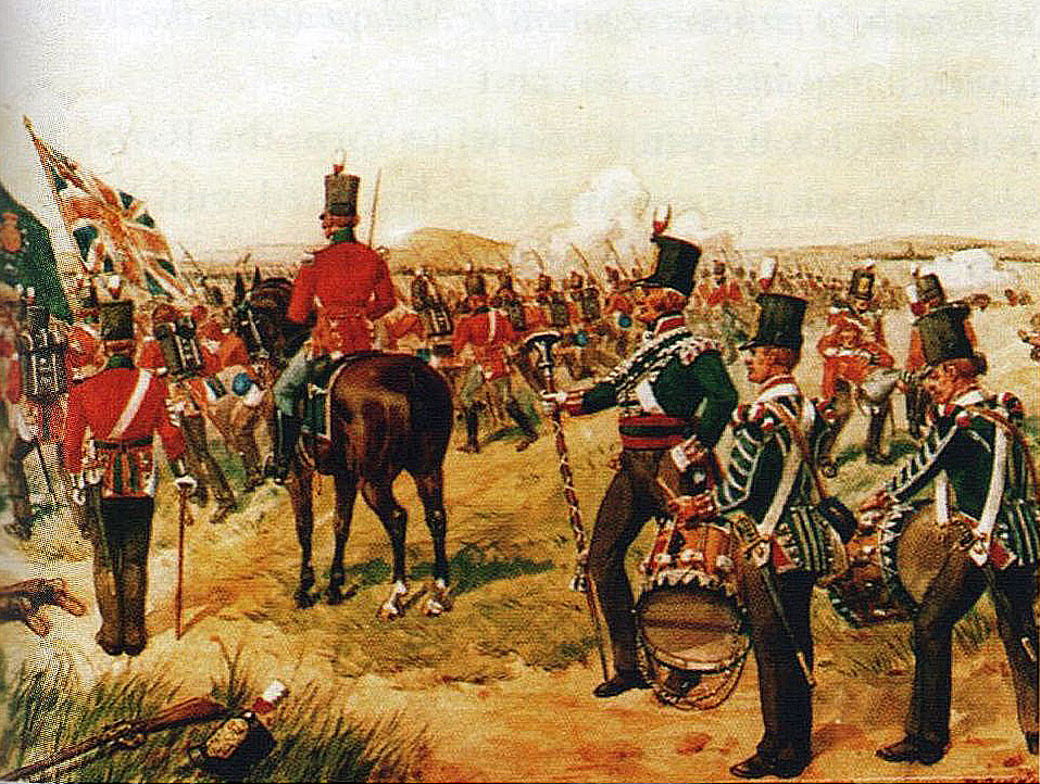 British 24th Foot during the Battle of Talavera on 28th July 1809 in the Peninsular War: picture by Richard Simkin