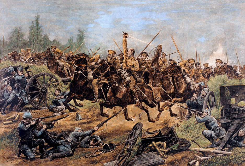 The 9th Lancers charge German infantry and guns during the action at Elouges: First Day of the Retreat from Mons and the Battle around Elouges and Audregnies, fought on 24th August 1914 in the First World War: picture by Richard Caton Woodville