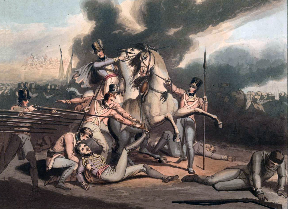Death of General Mackenzie at the Battle of Talavera on 28th July 1809 in the Peninsular War: picture by R. Westall