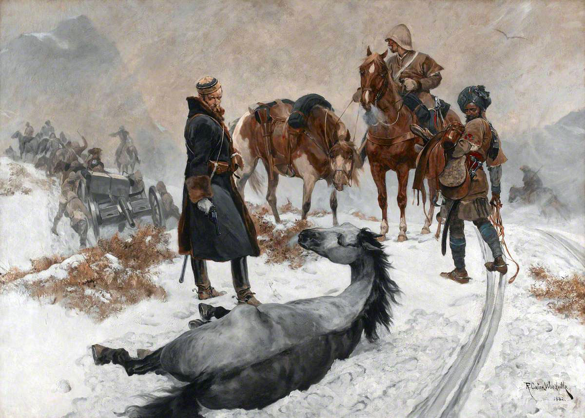 'Cruel to be kind': Battle of Kabul December 1879 in the Second Afghan War: picture by Richard Caton Woodville