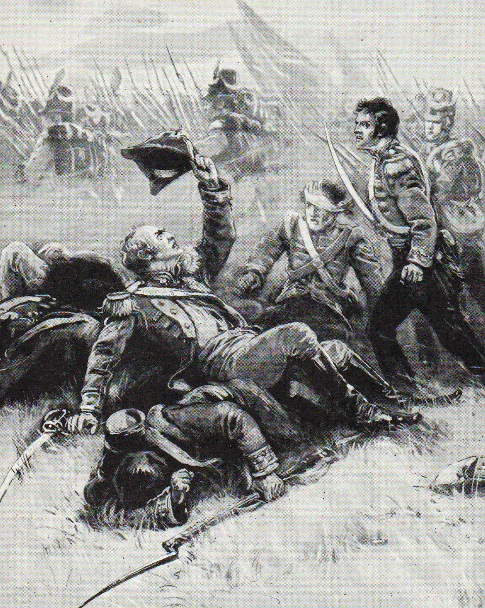 Death of Colonel Donnellan of the 48th Foot during the Battle of Talavera on 28th July 1809 in the Peninsular War: picture by BAV Hardy