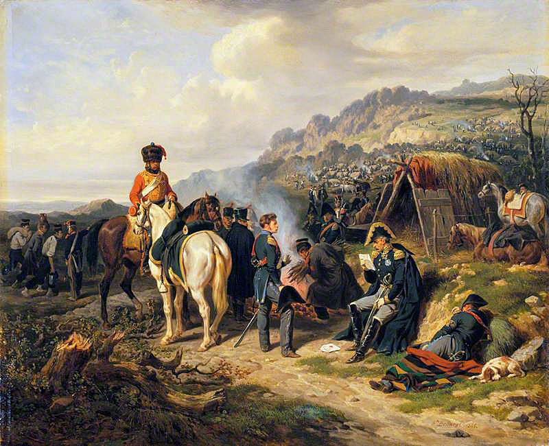 French staff officers: Battle of Talavera on 28th July 1809 in the Peninsular War: picture by Hippolyte Belangé
