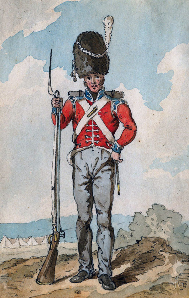 Grenadier, British First Foot Guards: Battle of the Nive on 11th December 1813 in the Peninsular War: picture by John Augustus Atkinson