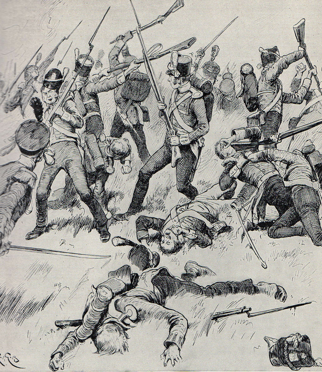 Hand to hand fighting during the Battle of Talavera on 28th July 1809 in the Peninsular War: picture by Gordon Browne