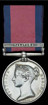 Military General Service Medal awarded to Captain Hawker with clasp for the Battle of Talavera on 28th July 1809 in the Peninsular War