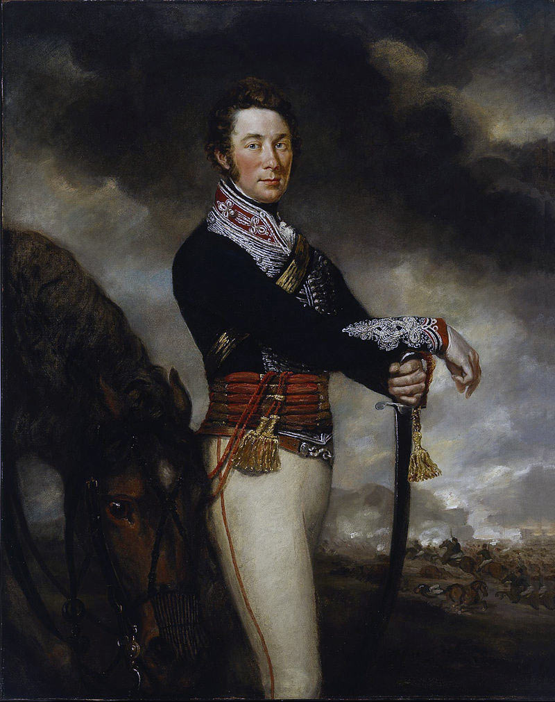Captain Peter Hawker 14th King's Light Dragoons wounded at the Battle of the Passage of the Douro on 16th May 1809 in the Peninsular War: picture by James Northcote
