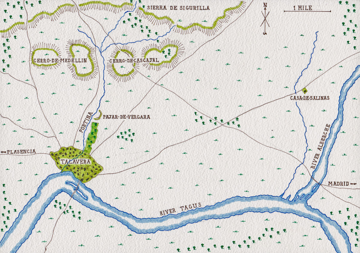 Map of the Talavera battlefield: Battle of Talavera on 27th/28th July 1809: map by John Fawkes
