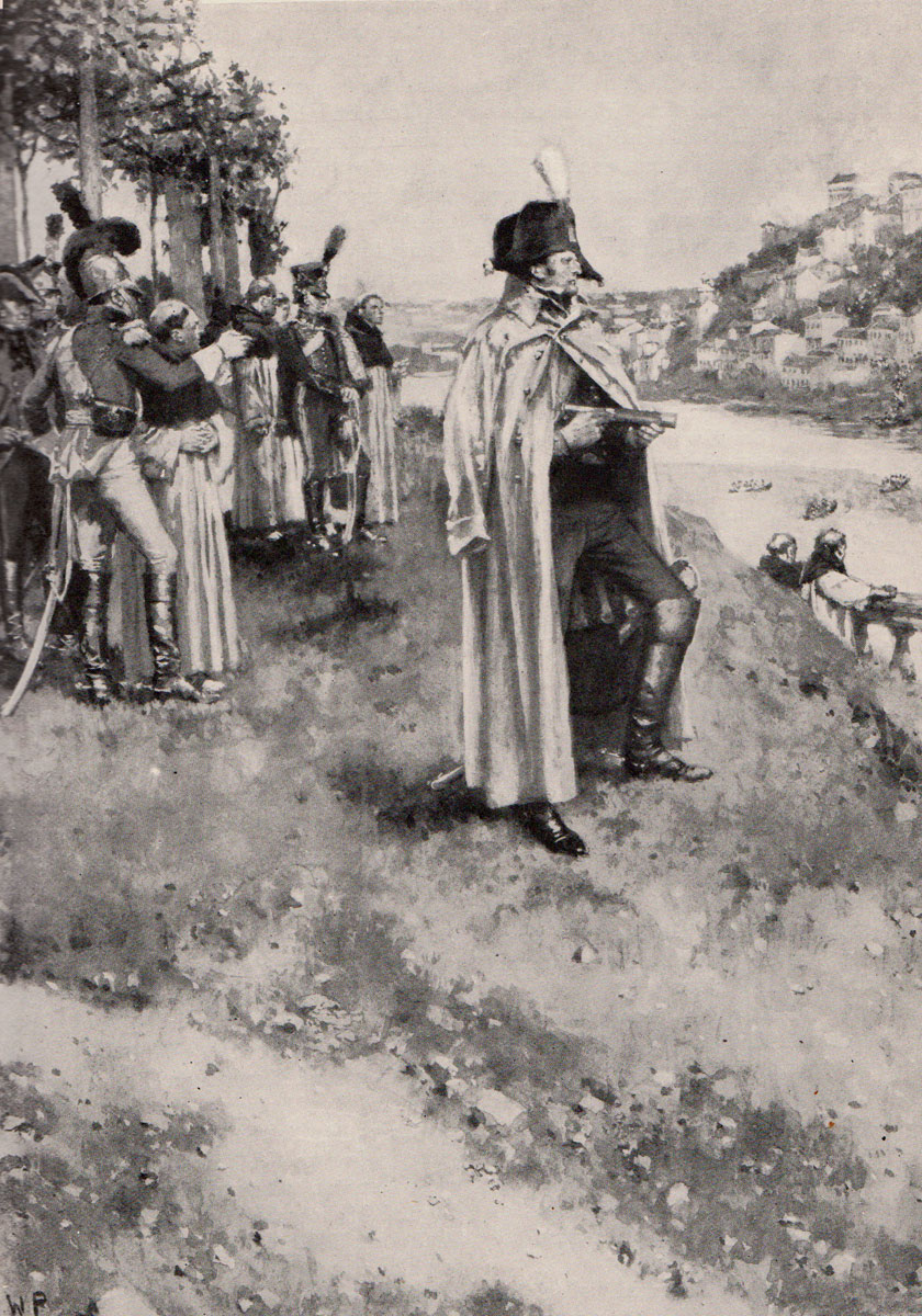 Marshal Soult watches British troops crossing the river during the Battle of the Passage of the Douro on 12th May 1809 in the Peninsular War: picture by Wal Paget