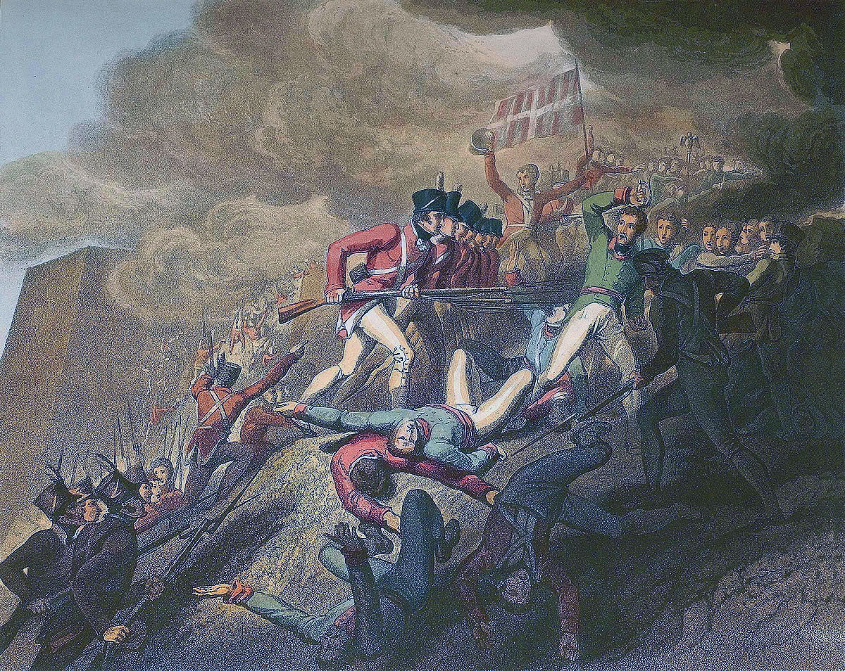 Storming of San Sebastian between 11th July and 9th September 1813 in the Peninsular War: picture by RA Westall
