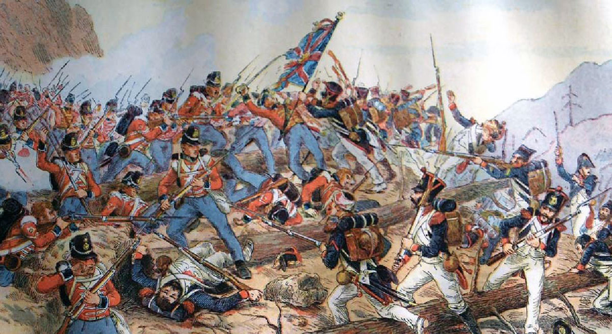 Attack of the British 29th Regiment at the Battle of Talavera on 28th July 1809 in the Peninsular War