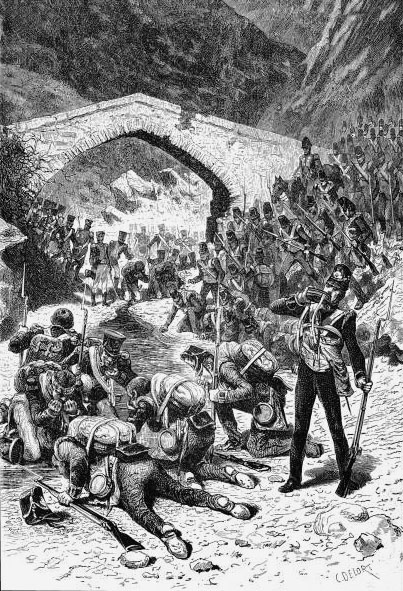 British and French troops drinking from the Portina Brook during the Battle of Talavera on 28th July 1809 in the Peninsular War: picture by D. Delors