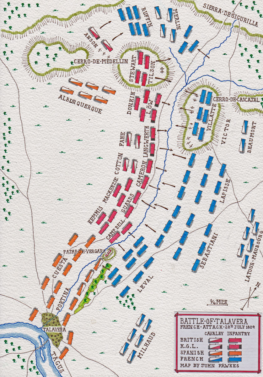 Map of the Main French Attack at the Battle of Talavera on 28th July 1809 in the Peninsular War: map by John Fawkes