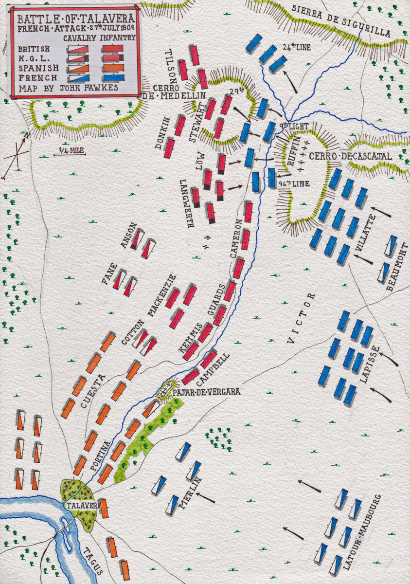 Map of Victor's night attack on 27th July 1809 at the Battle of Talavera on 27th/28th July 1809 in the Peninsular War: map by John Fawkes