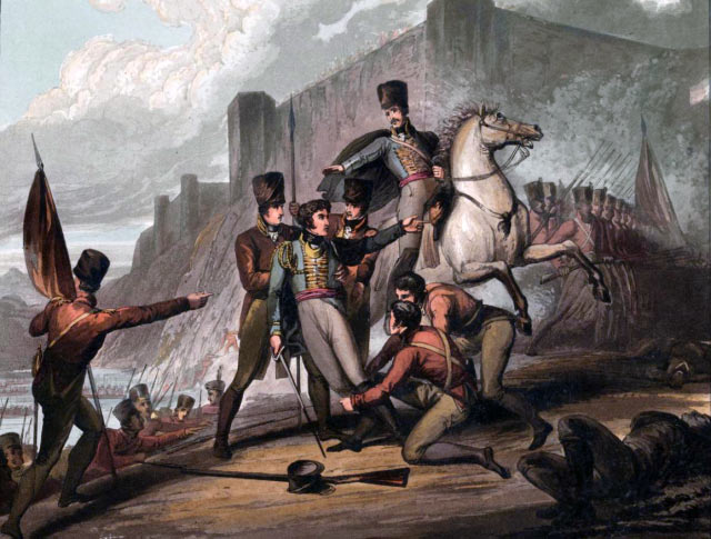 Wounding of General Edward Paget during the Battle of the Passage of the Douro on 16th May 1809 in the Peninsular War: picture by R. Westall
