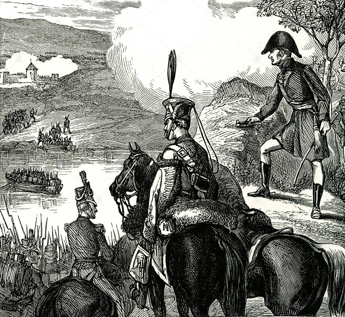 Sir Arthur Wellesley watching his troops crossing the river at the Battle of the Passage of the Douro on 16th May 1809 in the Peninsular War