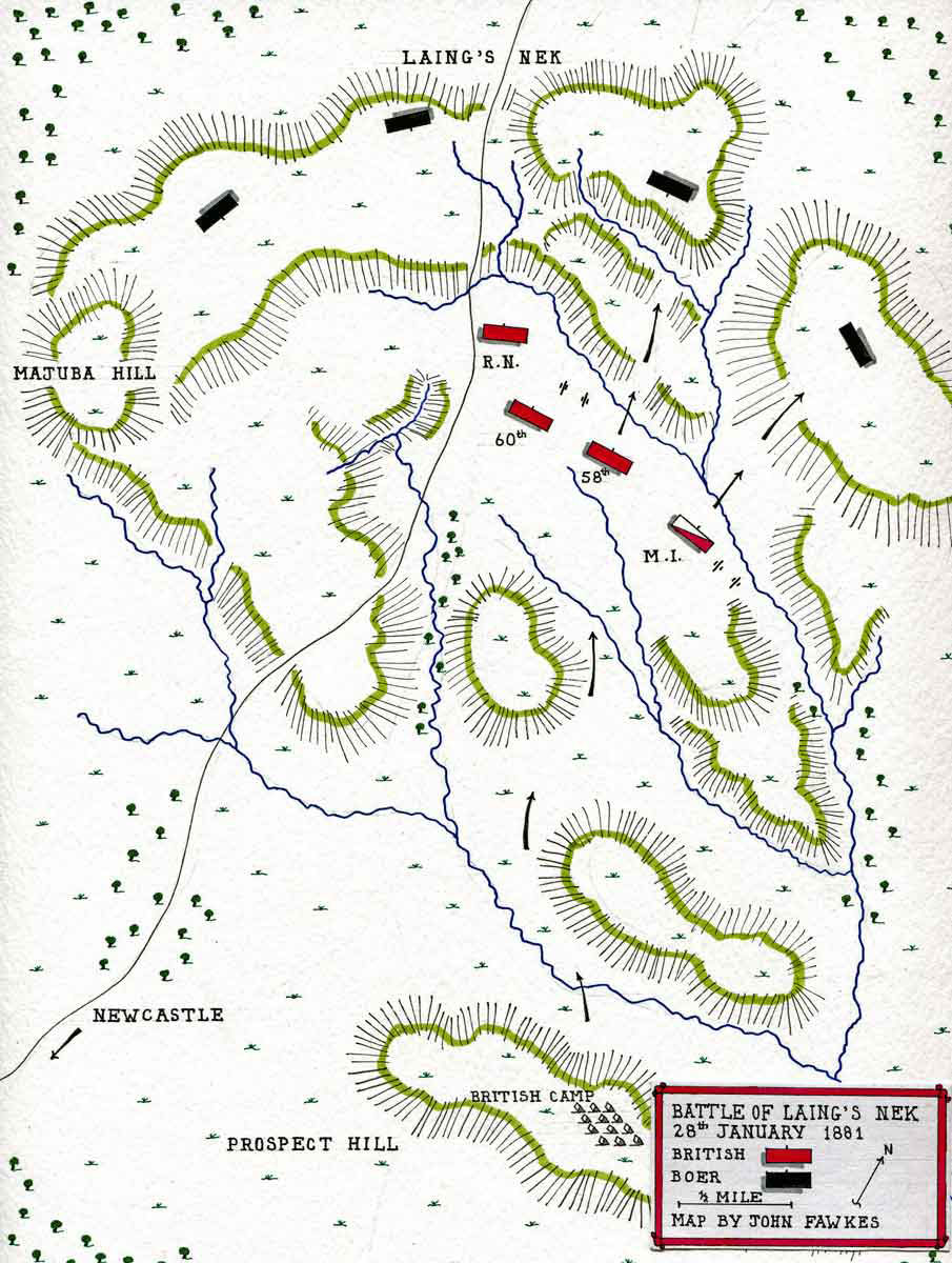 Map of the Battle of Laing's Nek on 28th January 1881 in the First Boer War: map by John Fawkes