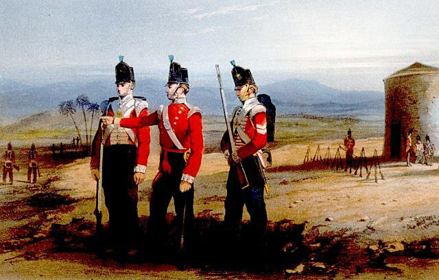 Picquet of the 52nd Light Infantry at the Battle of the River Coa on 24th July 1810 in the Peninsular War