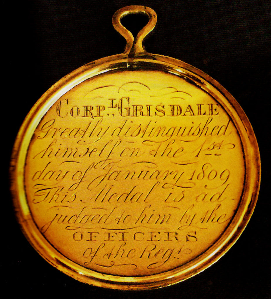 Medal awarded to Corporal Levi Grisdale for capturing General Lefebvre-Desnoëttes at the Battle of Benavente on 29th December 1808 in the Peninsular War