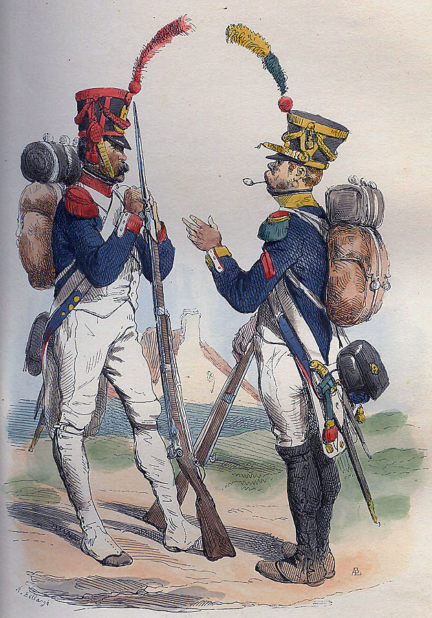 Grenadier and Voltigeur of French Infantry: Battle of the River Coa on 24th July 1810 in the Peninsular War: picture by Bellangé