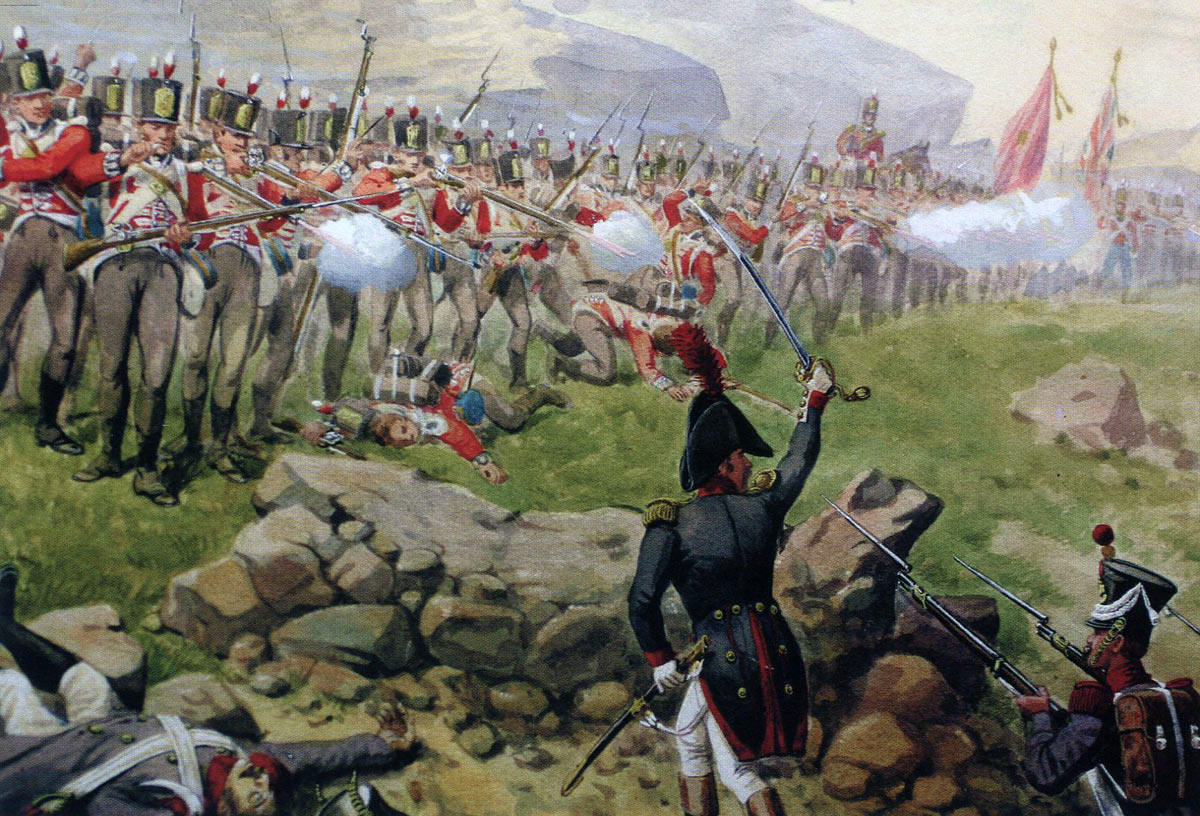 British First Foot Guards at the Battle of Barossa or Chiclana fought on 5th March 1811 in the Peninsular War: picture by Richard Simkin
