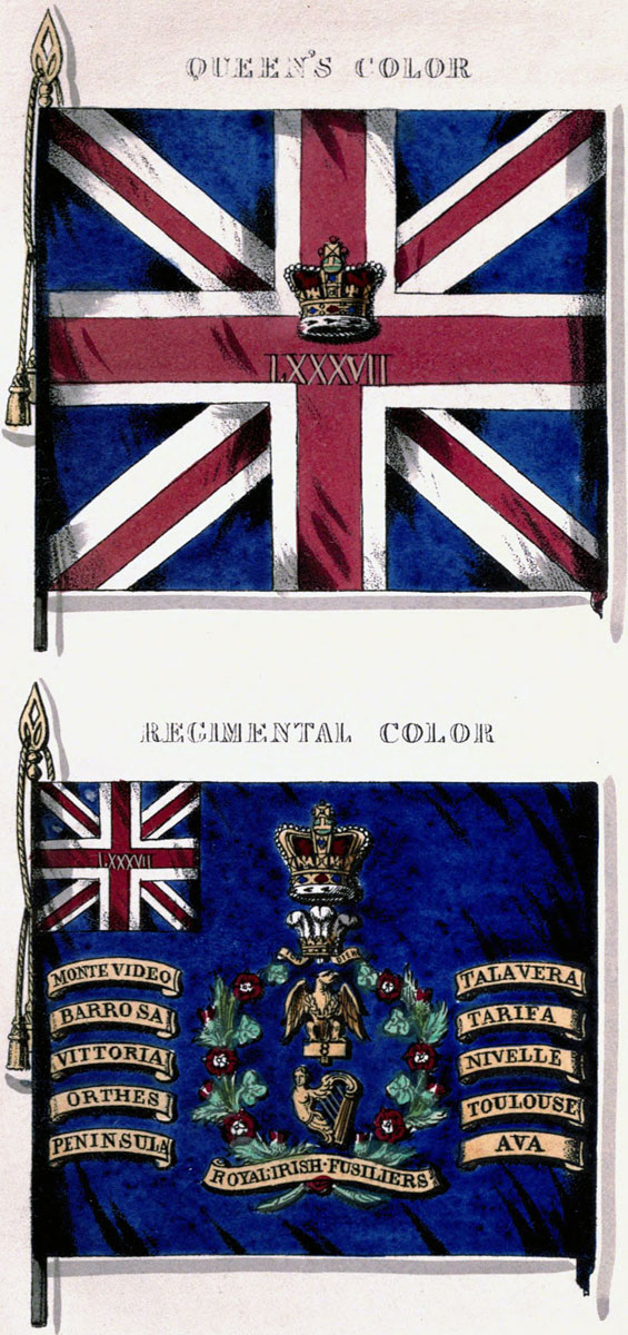 Colours of the 87th Regiment showing the Eagle of the 8th and the Battle Honour of the Battle of Barossa or Chiclana fought on 5th March 1811 in the Peninsular War
