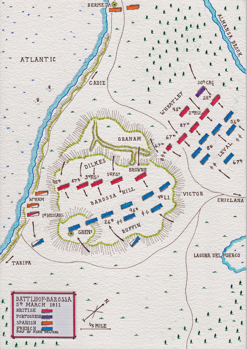 Map of the Battle of Barossa or Chiclana fought on 5th March 1811 in the Peninsular War: map by John Fawkes