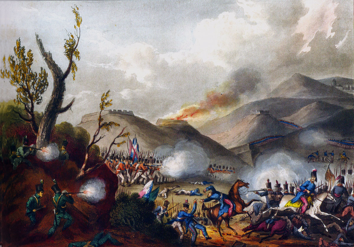 Battle of Busaco on 27th September 1810 in the Peninsular War: picture by J.J. Jenkins