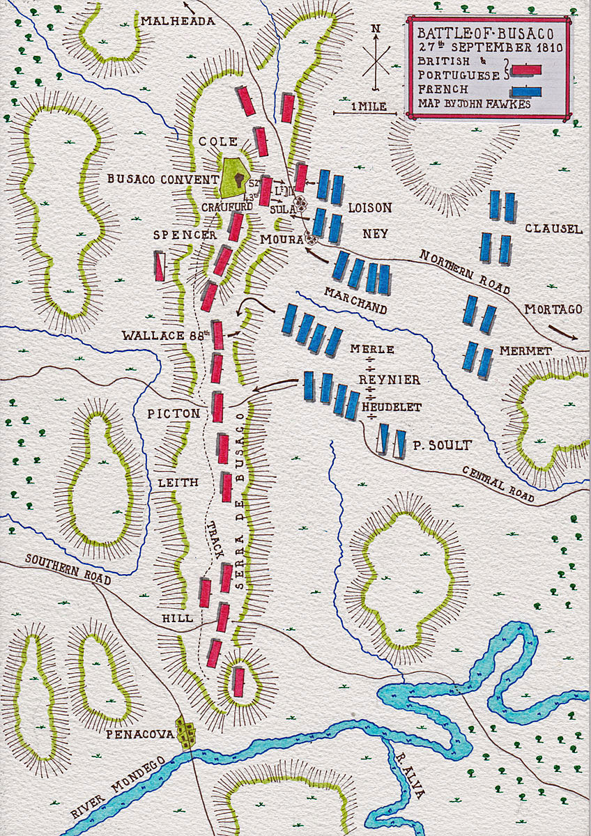 Map of the Battle of Busaco on 27th September 1810 in the Peninsular War: map by John Fawkes