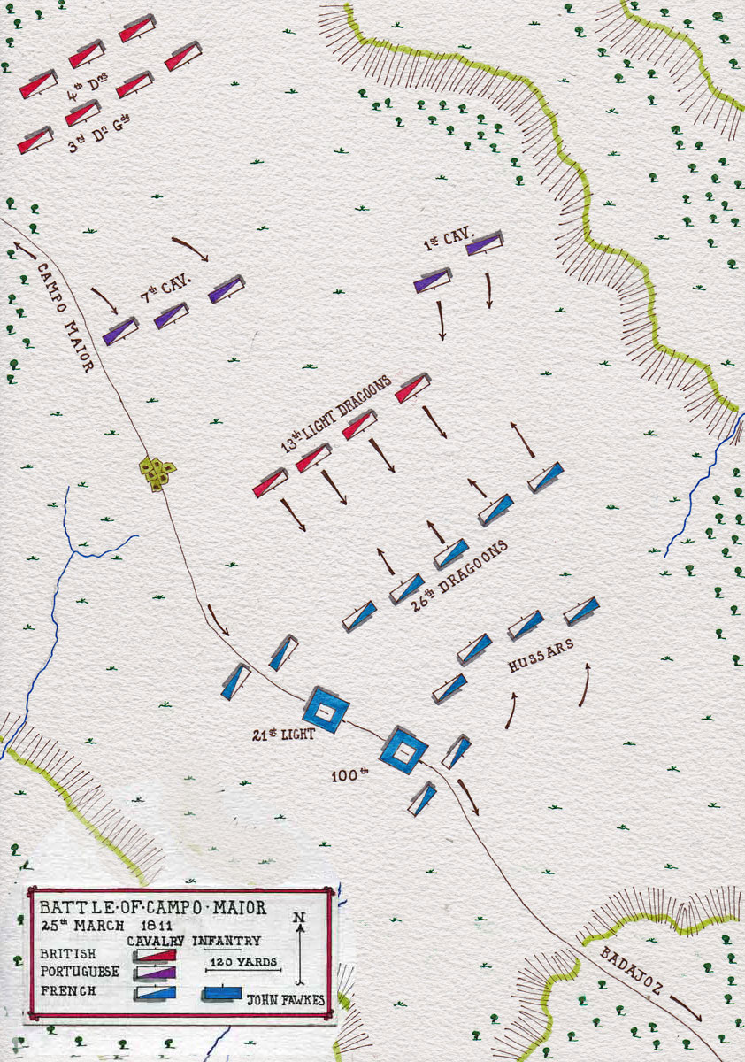 Map of the Battle of Campo Maior on 25th March 1811 in the Peninsular War: map by John Fawkes
