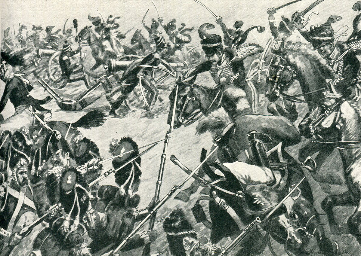 Ponsonby's charge of the King's German Legion 1st Hussars at Battle of Barossa or Chiclana fought on 5th March 1811 in the Peninsular War