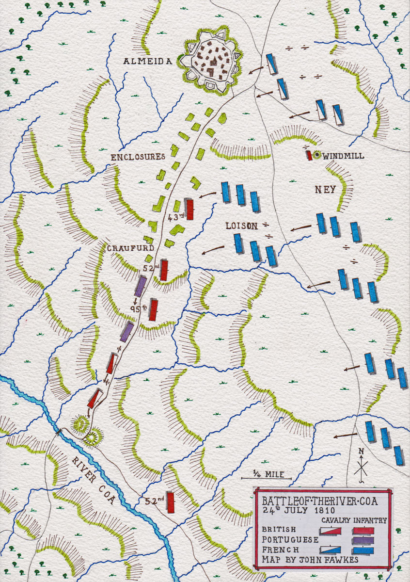 Map of the Battle of the River Coa on 24th July 1810 in the Peninsular War: map by John Fawkes