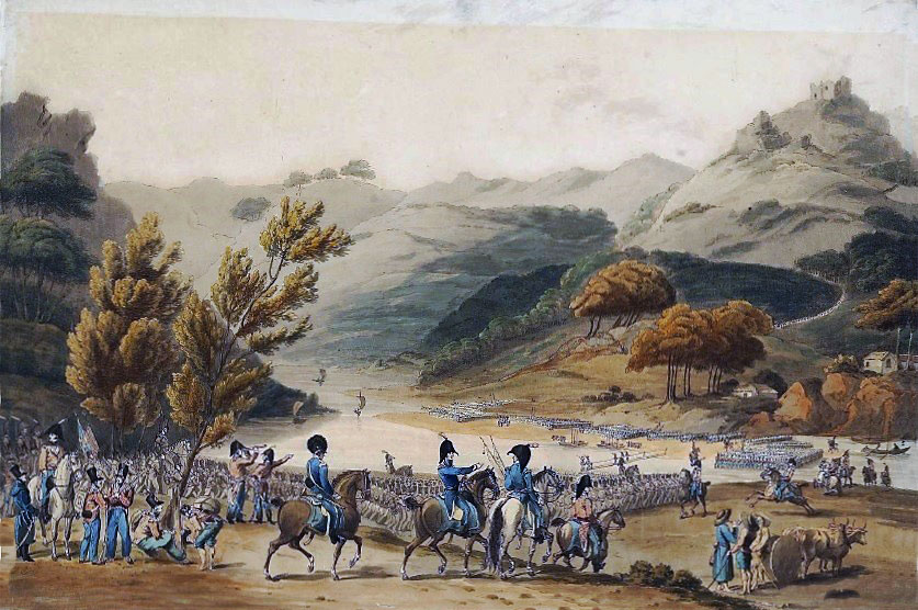 Wellington's army crossing the River Mondego with Busaco convent in the background before the Battle of Busaco on 27th September 1810 in the Peninsular War