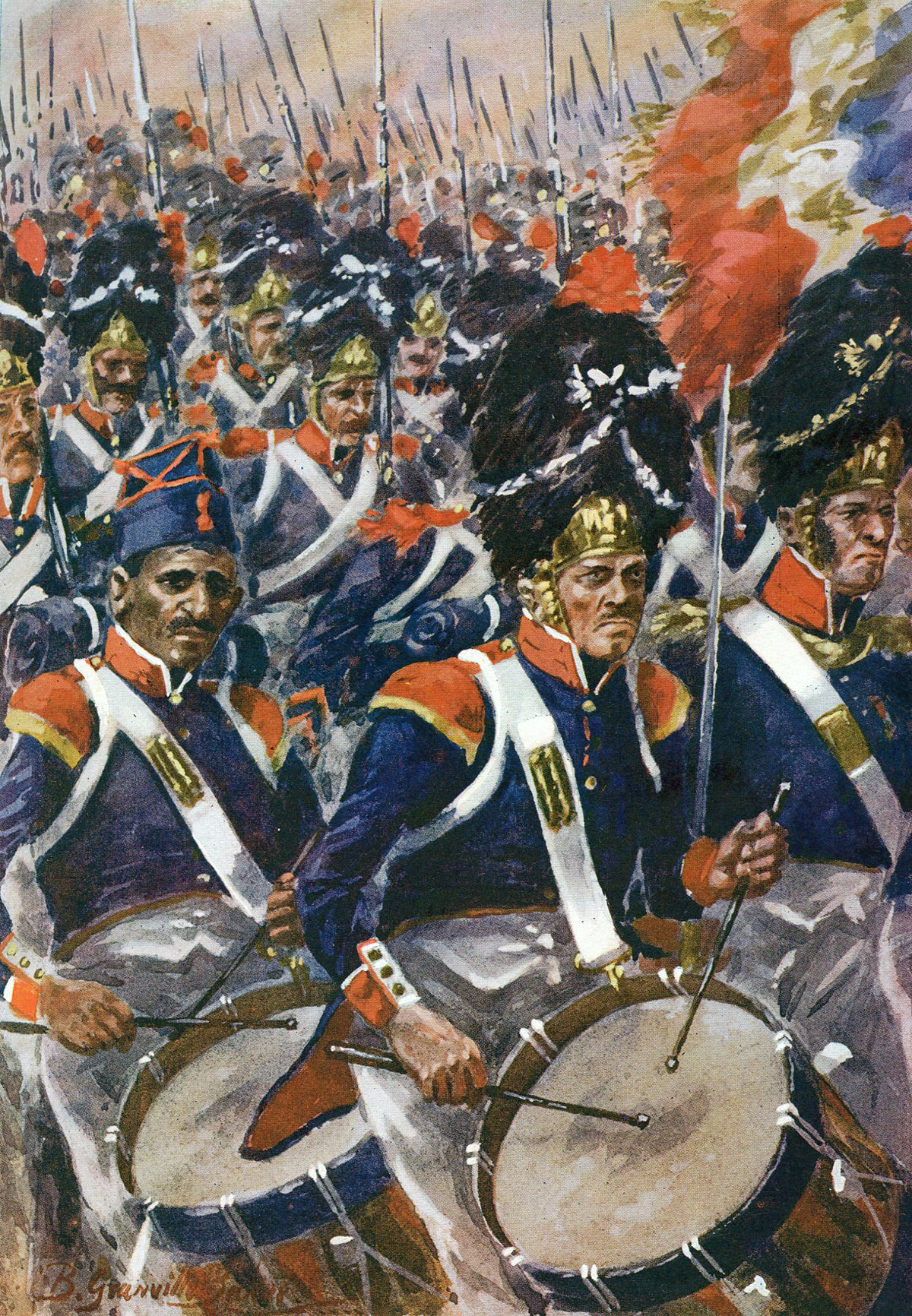 French infantry advancing at the Battle of Barossa or Chiclana fought on 5th March 1811 in the Peninsular War: picture by R. Granville Baker