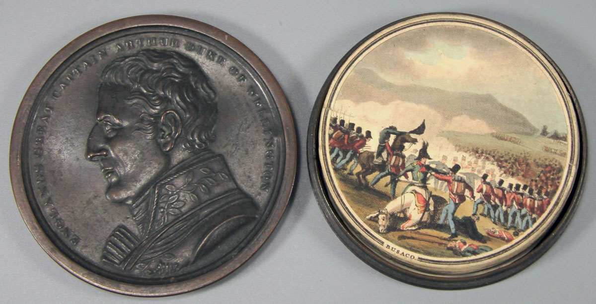Medal commemorating the Battle of Busaco on 27th September 1810 in the Peninsular War: picture by E. Orme