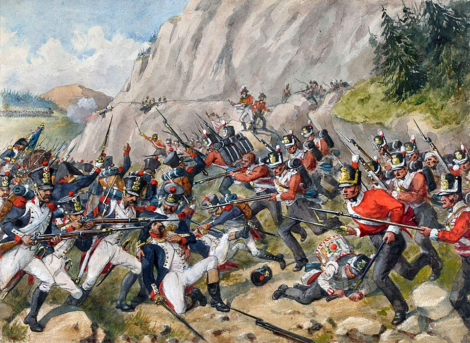 Charge of the 43rd and 52nd Light Infantry at the Battle of Busaco on 27th September 1810 in the Peninsular War: picture by Richard Simkin