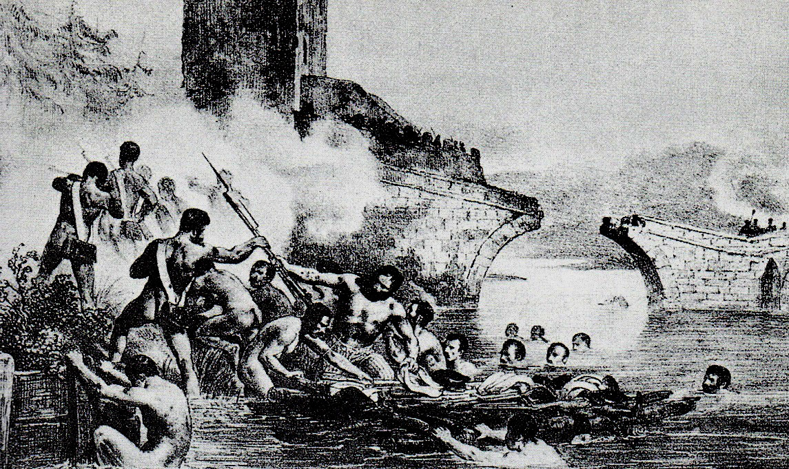 French 6th Light Infantry commanded by Captain Guingret swimming the River Douro at Tordesillas during Wellington's Retreat from Burgos Autumn 1812 in the Peninsular War