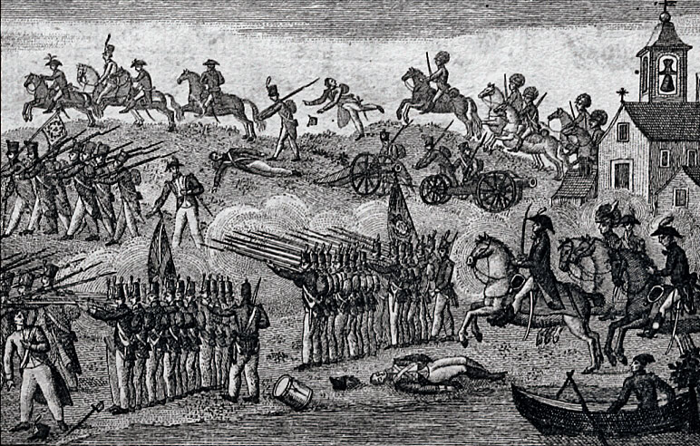 Portuguese cartoon of Soult's flight from Oporto at the Battle of the Passage of the Douro on 12th May 1809 in the Peninsular War
