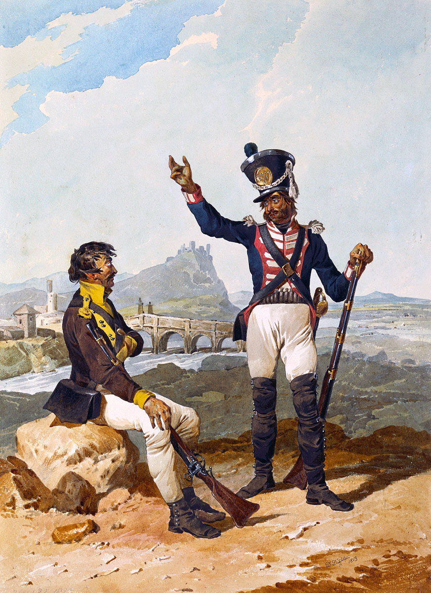 Spanish Regiments of Toledo and the Walloon Guards: Battle of Barossa or Chiclana fought on 5th March 1811 in the Peninsular War: picture by Denis Dighton