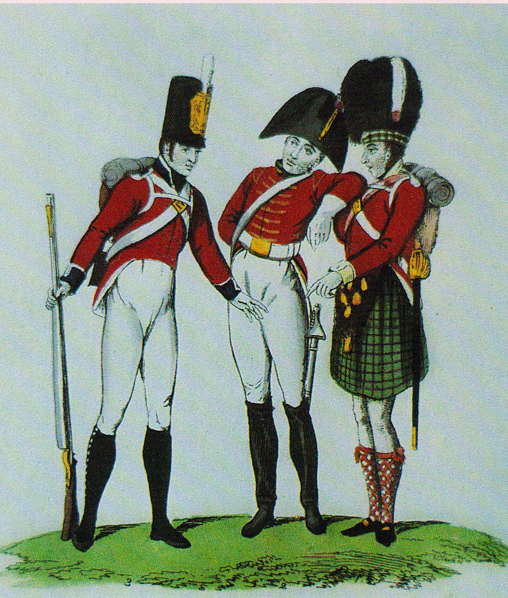 Royal Dragoon with 2 infantrymen: Battle of Redinha or Pombal fought on 12th March 1811 in the Peninsular War