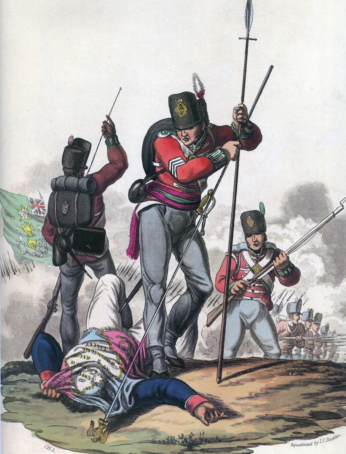 Sergeant Masterson of the 87th Regiment taking the Eagle of the French 8th of the Line at the Battle of Barossa or Chiclana fought on 5th March 1811 in the Peninsular War: picture by Hamilton Smith