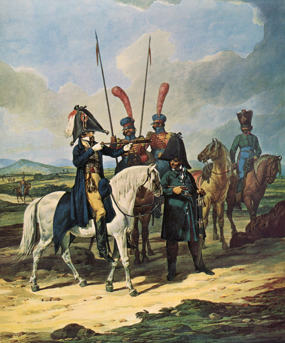 Spanish General and his staff: Battle of Barossa or Chiclana fought on 5th March 1811 in the Peninsular War: picture by Denis Dighton