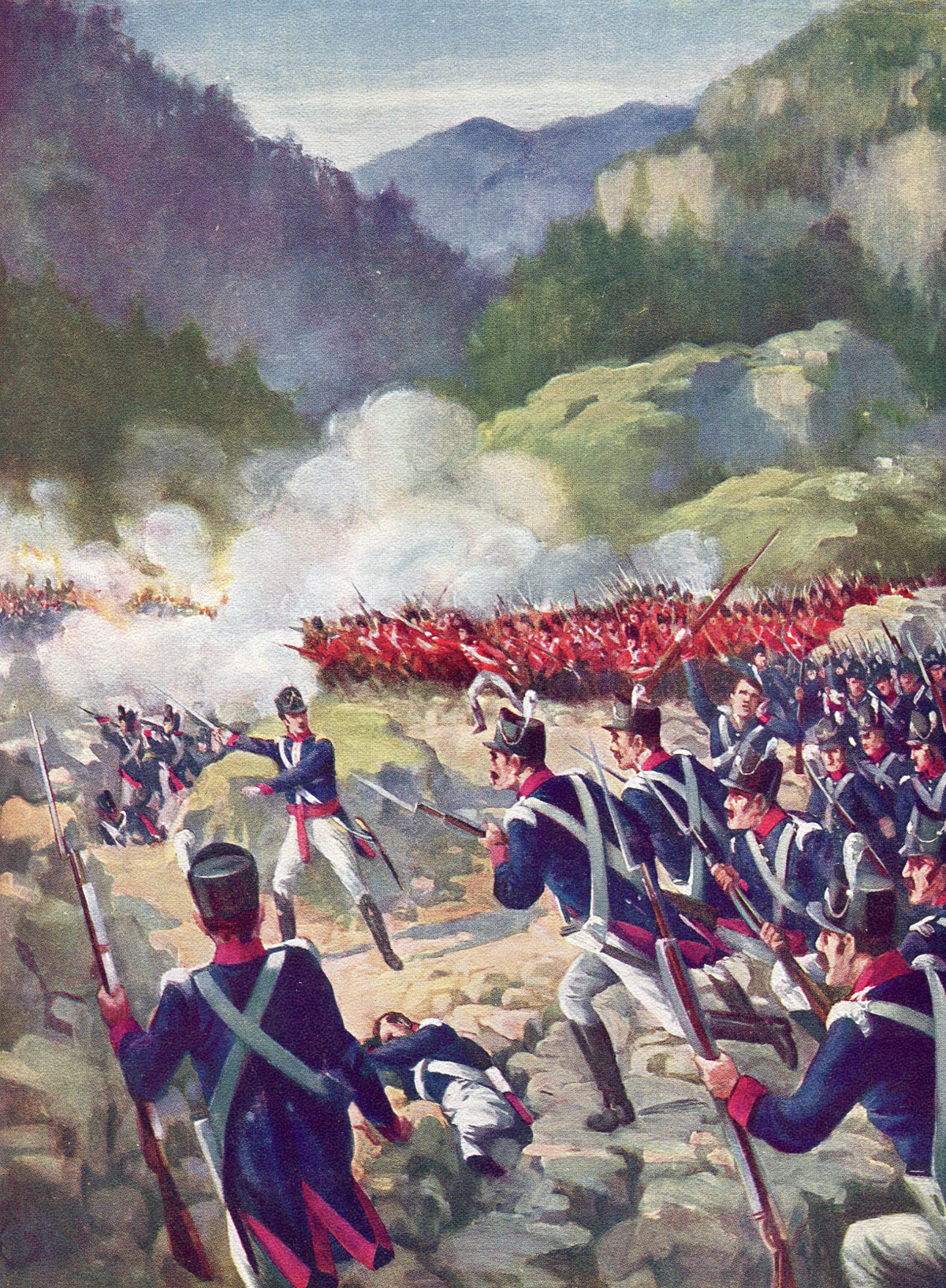 Charge of British and Portuguese infantry at the Battle of Busaco on 27th September 1810 in the Peninsular War