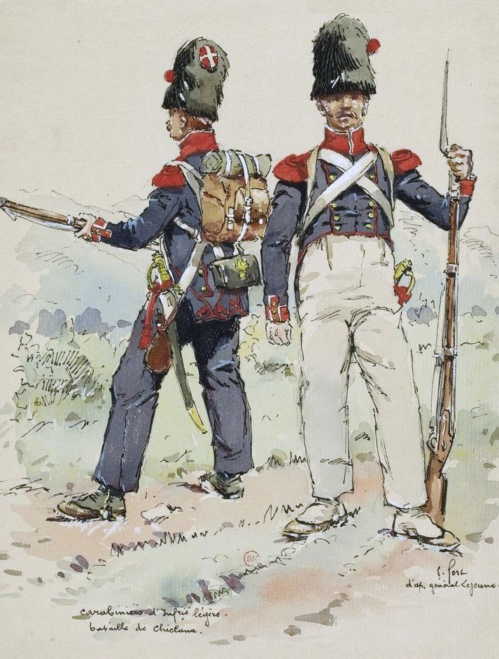 Carabiniers of the French 9th Light at the Battle of Barossa or Chiclana fought on 5th March 1811 in the Peninsular War
