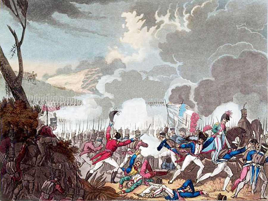 Battle of Busaco on 27th September 1810 in the Peninsular War: picture by William Heath