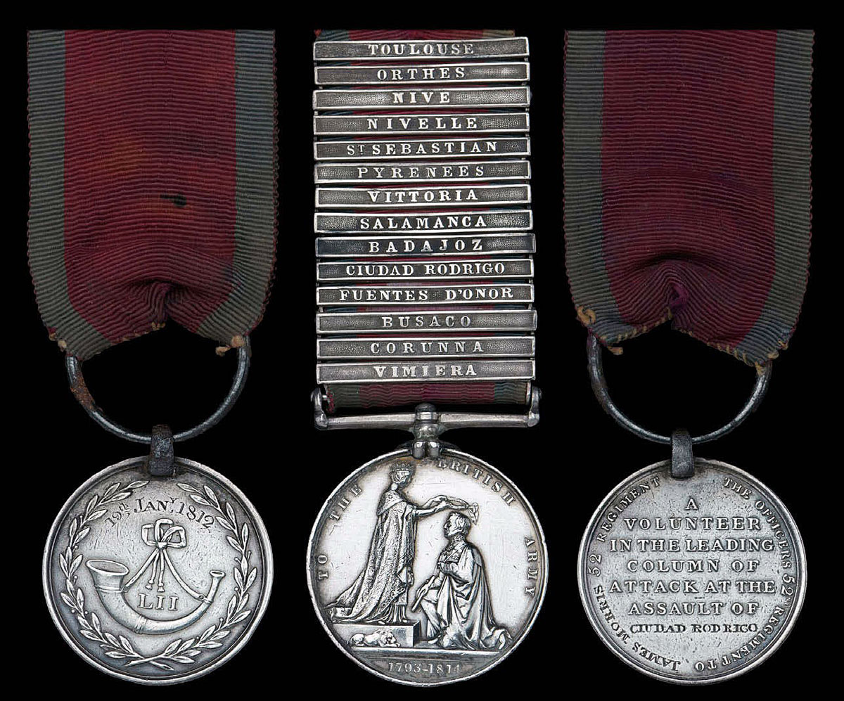 'Forlorn Hope' Medal and GSM awarded to James Morris of 52nd: Storming of Ciudad Rodrigo on 19th January 1812 in the Peninsular War