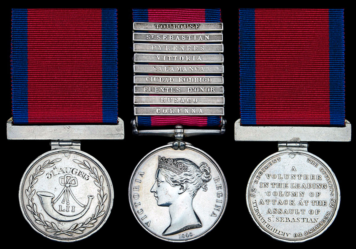 MGSM and Regimental 'Forlorn Hope' Medal awarded to Private Arthur Hammell of 52nd Light Infantry for the Storming of San Sebastian between 11th July and 9th September 1813 in the Peninsular War