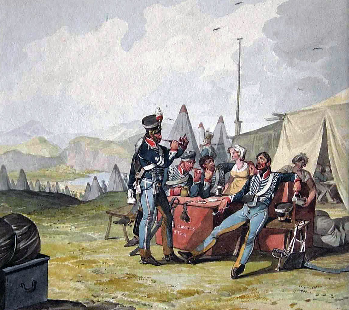British 10th Hussars in camp: Battle of Morales de Toro on 2nd June 1813 during the Peninsular War: picture by Denis Dighton
