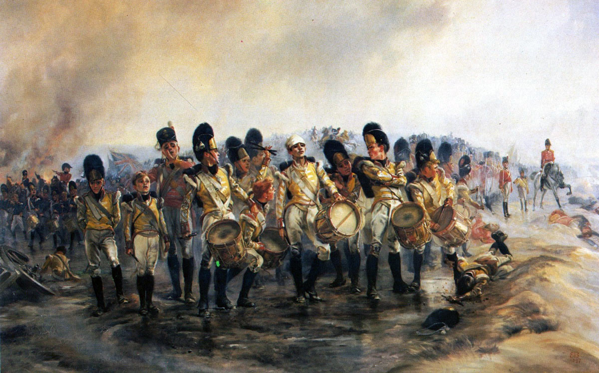 'Steady the Drums and Fifes'; 57th Regiment at the Battle of Albuera on 16th May 1811 in the Peninsular War: picture by Lady Butler